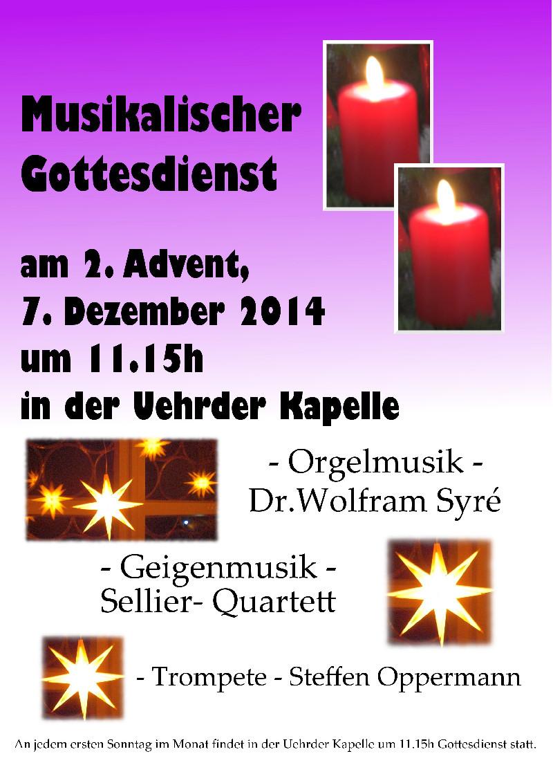 musikalischer Gottesdienst im Advent in der Kapelle von Ührde